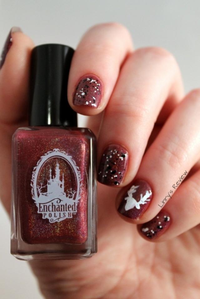 Enchanted Polish Mr Burgundy Linry's Review Reindeer Christmas nail art 4